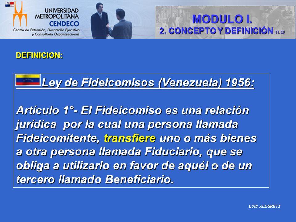 Ley de Fideicomisos (Venezuela) 1956: Ley de Fideicomisos (Venezuela) 1956: Artículo 1°- El Fideicomiso es una relación jurídica por la cual una perso