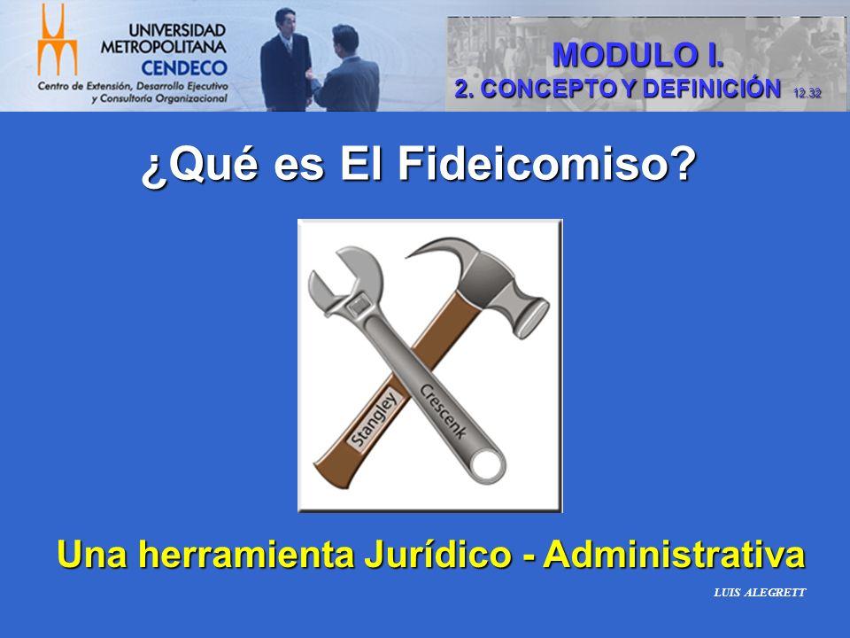 Una herramienta Jurídico - Administrativa ¿Qué es El Fideicomiso? MODULO I. 2. CONCEPTO Y DEFINICIÓN 12.32 LUIS ALEGRETT