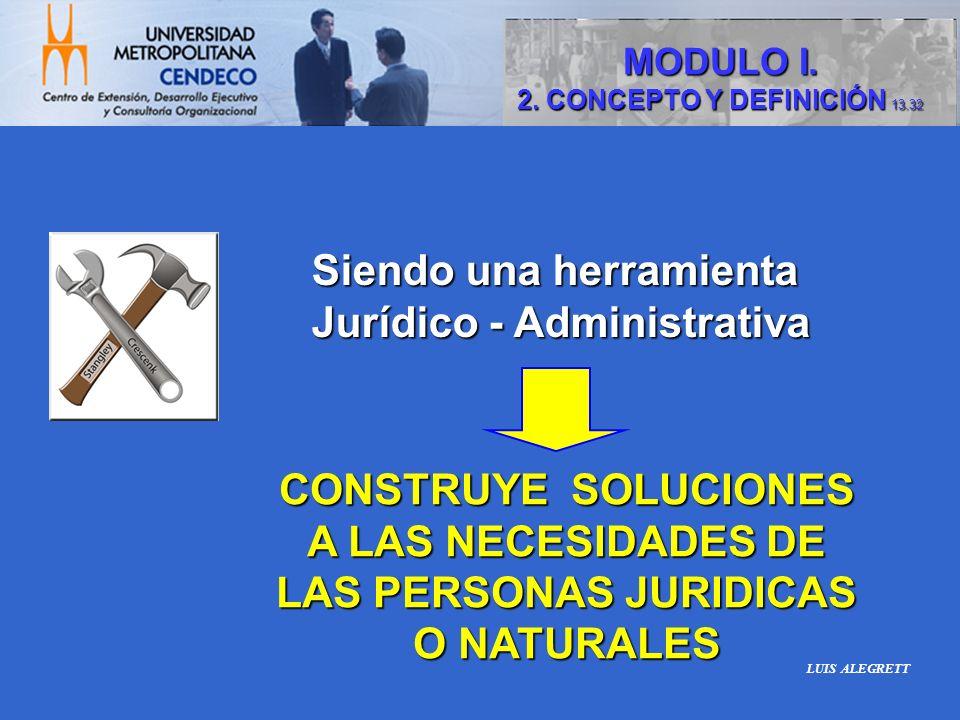 Siendo una herramienta Jurídico - Administrativa Jurídico - Administrativa CONSTRUYE SOLUCIONES A LAS NECESIDADES DE LAS PERSONAS JURIDICAS O NATURALE