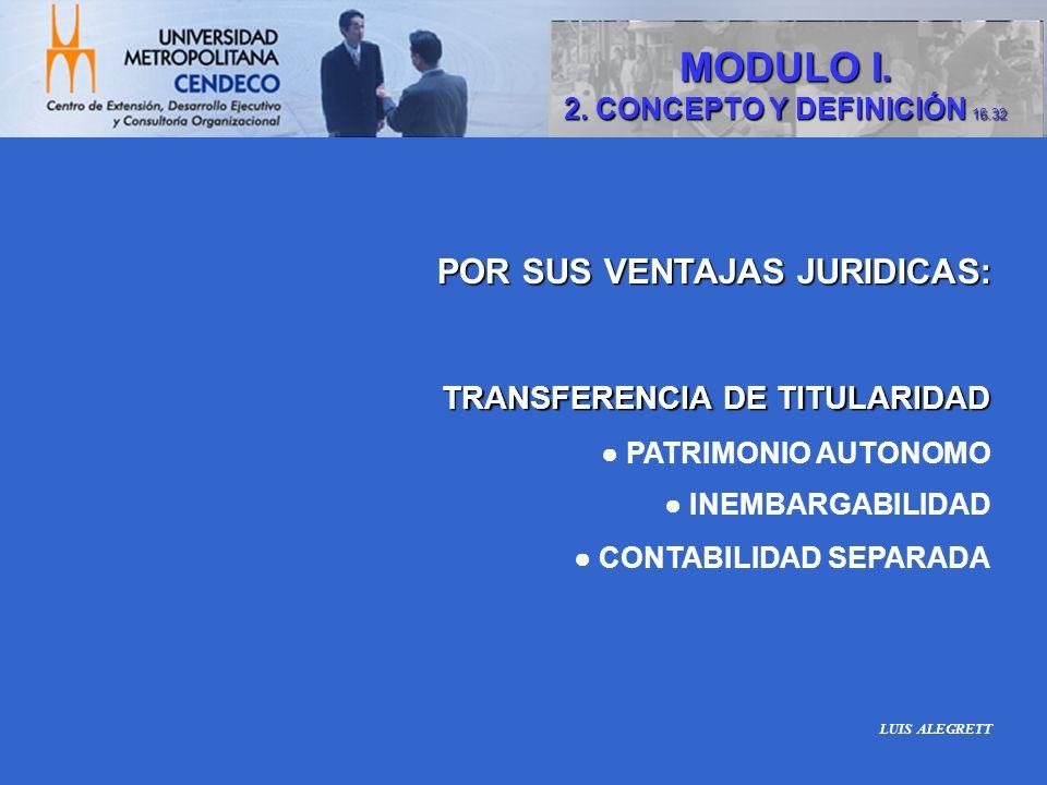 POR SUS VENTAJAS JURIDICAS: TRANSFERENCIA DE TITULARIDAD TRANSFERENCIA DE TITULARIDAD PATRIMONIO AUTONOMO INEMBARGABILIDAD CONTABILIDAD SEPARADA MODUL