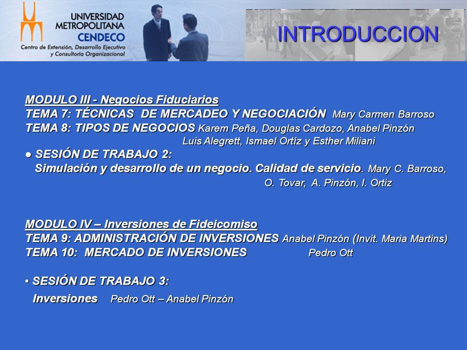 MODULO III - Negocios Fiduciarios TEMA 7: TÉCNICAS DE MERCADEO Y NEGOCIACIÓN Mary Carmen Barroso TEMA 8: TIPOS DE NEGOCIOS Karem Peña, Douglas Cardozo