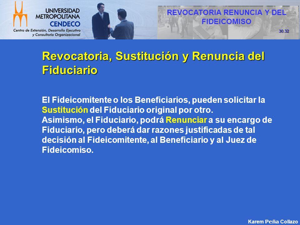 Karem Peña Collazo Revocatoria, Sustitución y Renuncia del Fiduciario El Fideicomitente o los Beneficiarios, pueden solicitar la Sustitución del Fiduc
