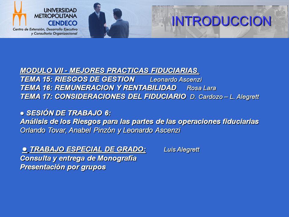 INTRODUCCION MODULO VII - MEJORES PRACTICAS FIDUCIARIAS. TEMA 15: RIESGOS DE GESTION Leonardo Ascenzi TEMA 16: REMUNERACION Y RENTABILIDAD Rosa Lara T