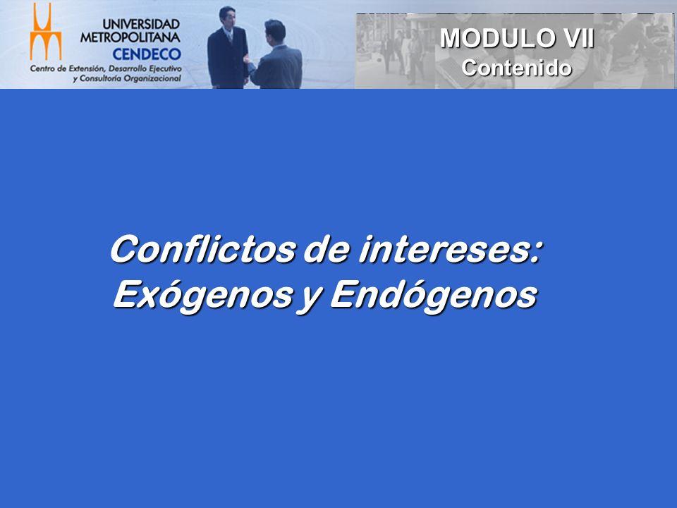 Conflictos de intereses: Exógenos y Endógenos MODULO VII Contenido