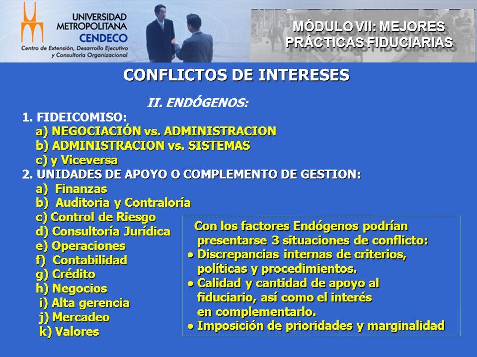 CONFLICTOS DE INTERESES II. ENDÓGENOS: 1. FIDEICOMISO: a) NEGOCIACIÓN vs. ADMINISTRACION a) NEGOCIACIÓN vs. ADMINISTRACION b) ADMINISTRACION vs. SISTE