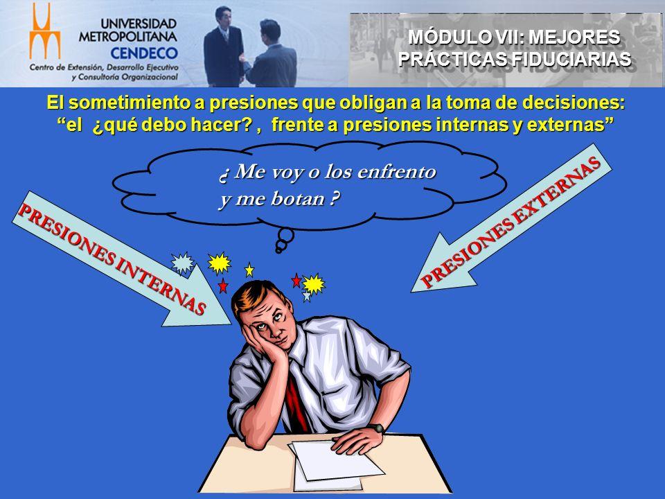 El sometimiento a presiones que obligan a la toma de decisiones: el ¿qué debo hacer?, frente a presiones internas y externas ¿ Me voy o los enfrento y