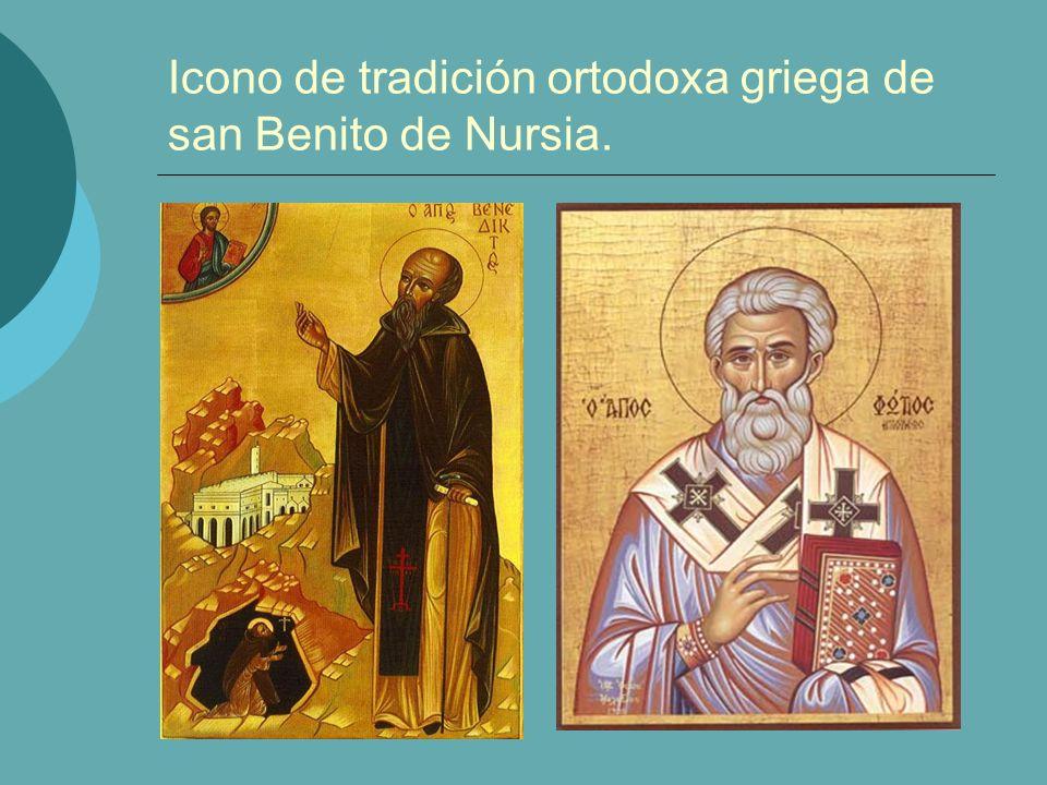 Icono de tradición ortodoxa griega de san Benito de Nursia.