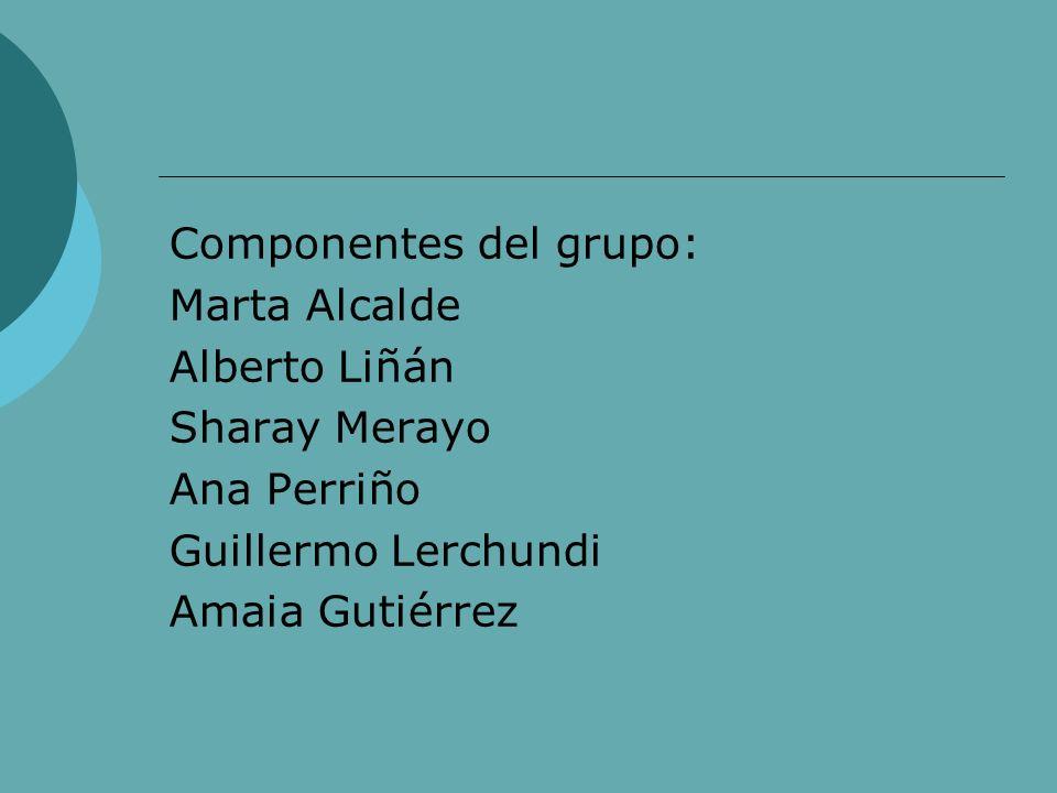 Componentes del grupo: Marta Alcalde Alberto Liñán Sharay Merayo Ana Perriño Guillermo Lerchundi Amaia Gutiérrez