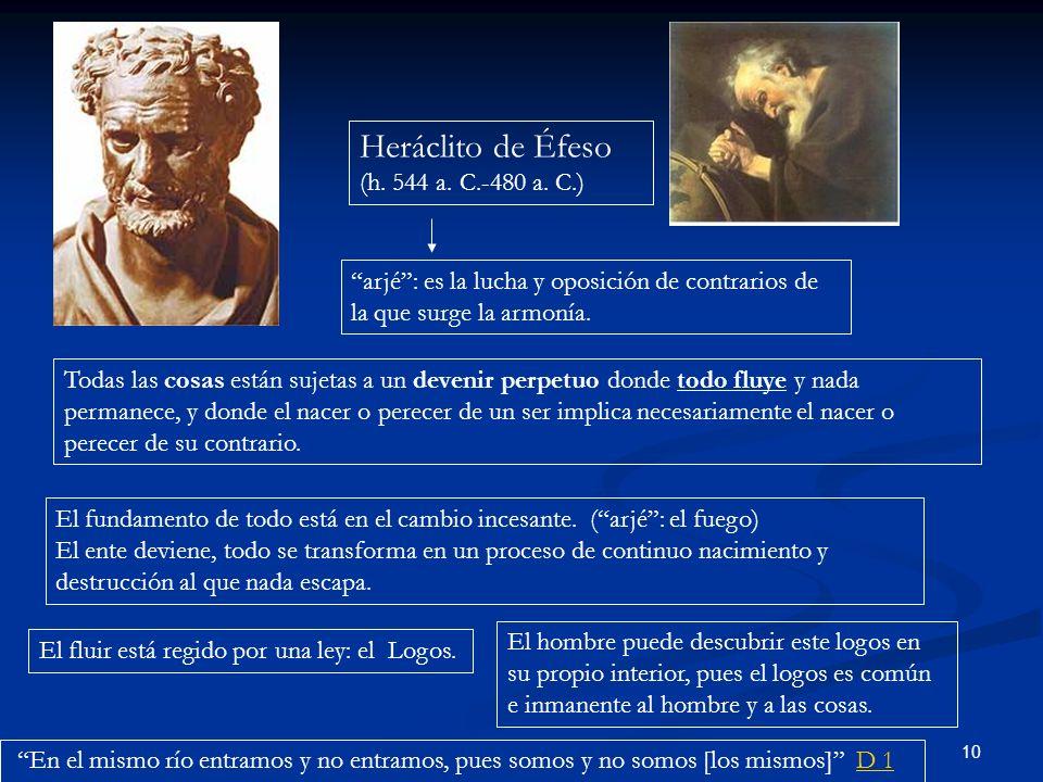 10 Heráclito de Éfeso (h. 544 a. C.-480 a. C.) arjé: es la lucha y oposición de contrarios de la que surge la armonía. Todas las cosas están sujetas a