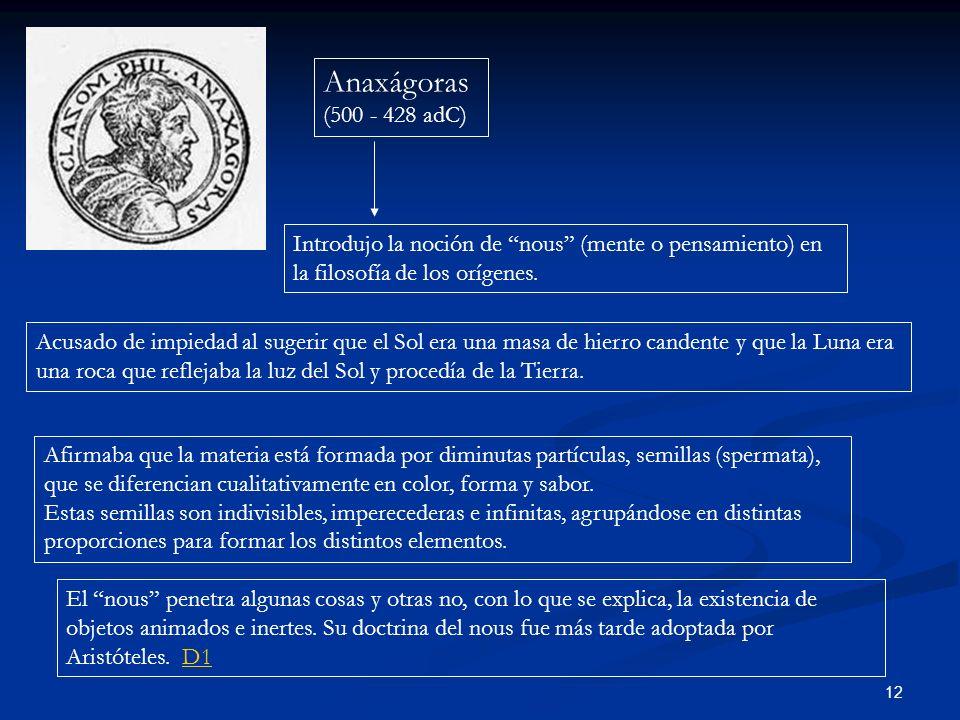 12 Anaxágoras (500 - 428 adC) Introdujo la noción de nous (mente o pensamiento) en la filosofía de los orígenes. Acusado de impiedad al sugerir que el