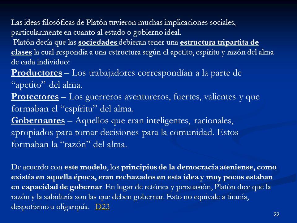 22 Las ideas filosóficas de Platón tuvieron muchas implicaciones sociales, particularmente en cuanto al estado o gobierno ideal. Platón decía que las