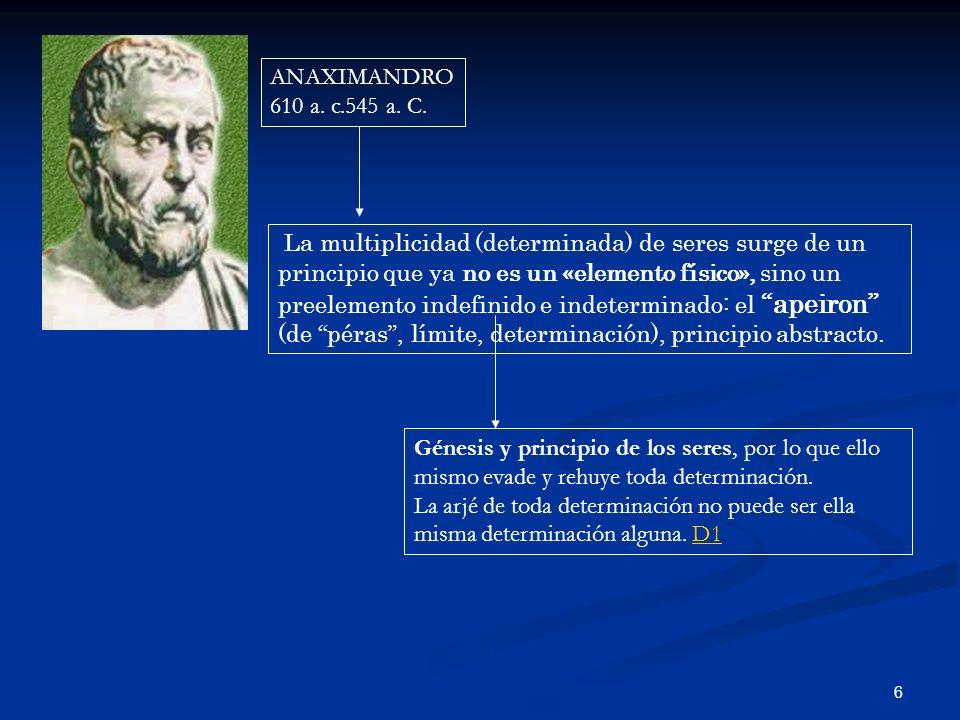 6 ANAXIMANDRO 610 a. c.545 a. C. La multiplicidad (determinada) de seres surge de un principio que ya no es un «elemento físico», sino un preelemento