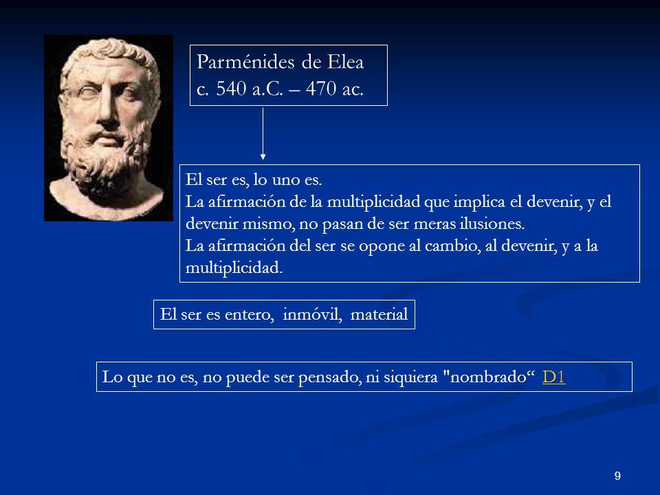9 Parménides de Elea c. 540 a.C. – 470 ac. El ser es, lo uno es. La afirmación de la multiplicidad que implica el devenir, y el devenir mismo, no pasa