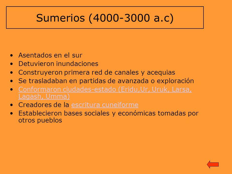 Sumerios (4000-3000 a.c) Asentados en el sur Detuvieron inundaciones Construyeron primera red de canales y acequias Se trasladaban en partidas de avan