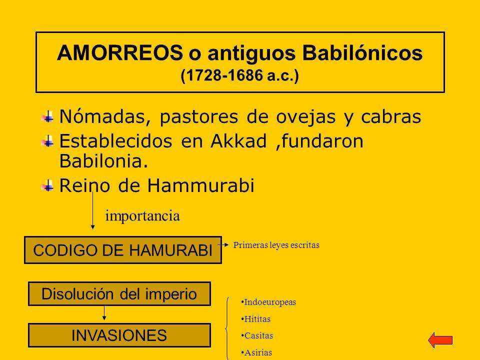 AMORREOS o antiguos Babilónicos (1728-1686 a.c.) Nómadas, pastores de ovejas y cabras Establecidos en Akkad,fundaron Babilonia. Reino de Hammurabi COD