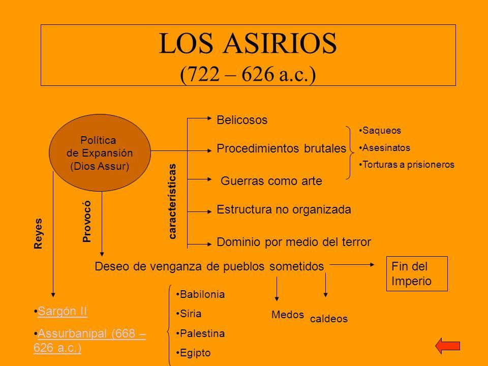 LOS ASIRIOS (722 – 626 a.c.) Política de Expansión (Dios Assur) Belicosos Procedimientos brutales Saqueos Asesinatos Torturas a prisioneros Guerras co