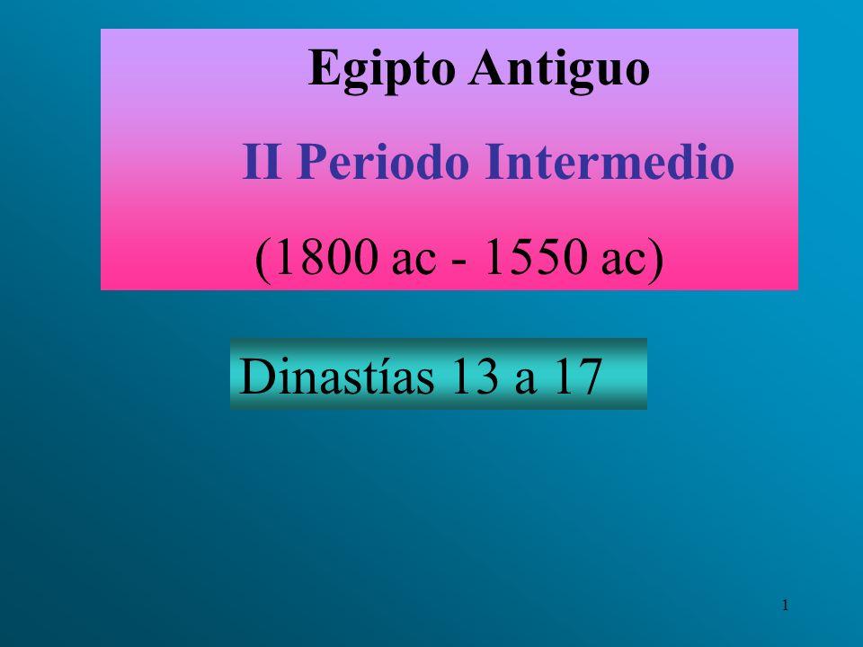 Egipto Antiguo II Periodo Intermedio (1800 ac - 1550 ac) Dinastías 13 a 17 1