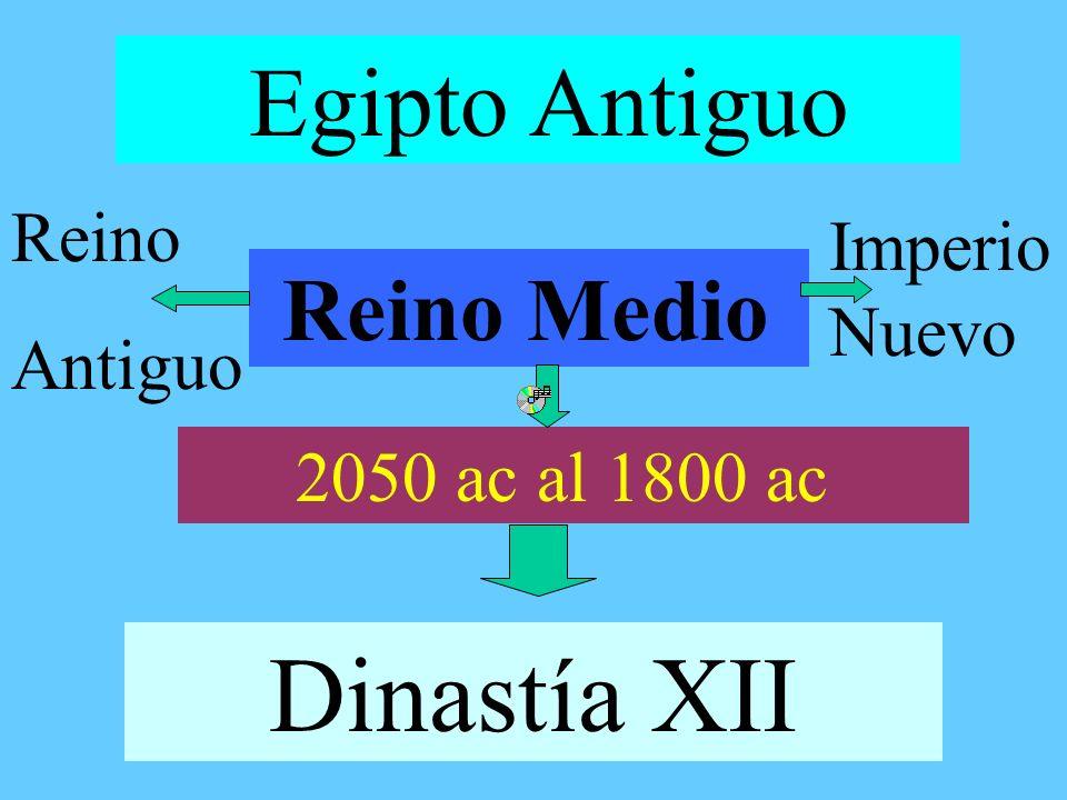 Egipto Antiguo Reino Medio 2050 ac al 1800 ac Dinastía XII Reino Antiguo Imperio Nuevo