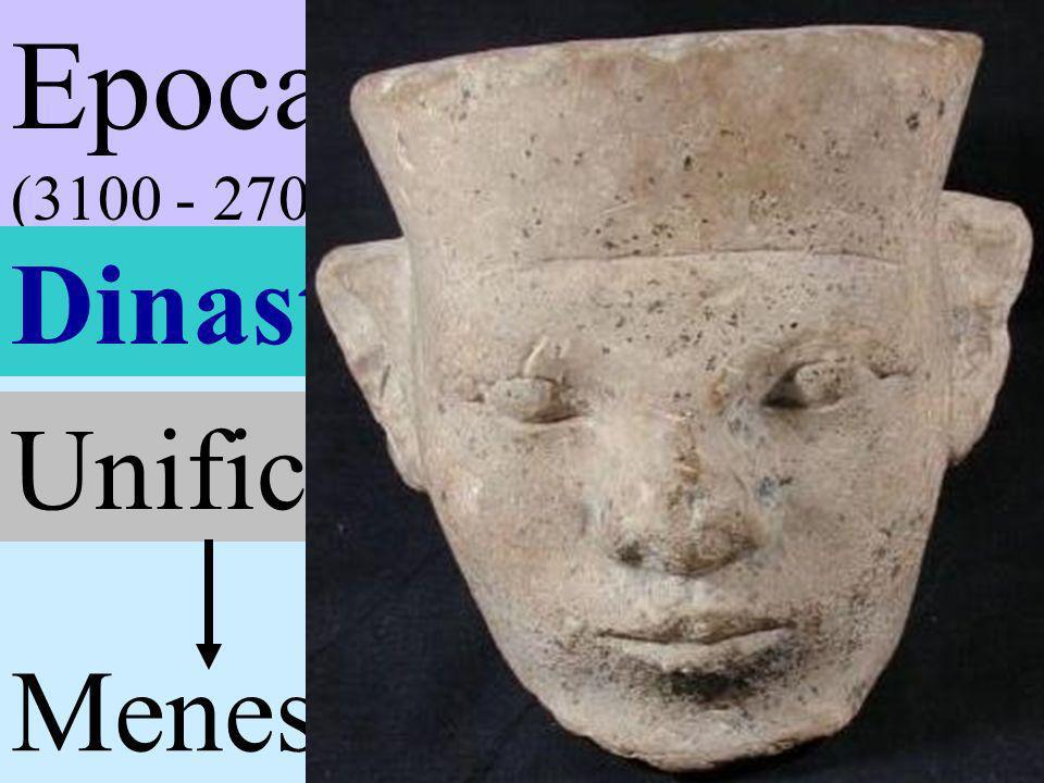Epoca Tinita (3100 - 2700 ac) Dinastías I - II Unificación dos tierras Menes capital This (Tinis)