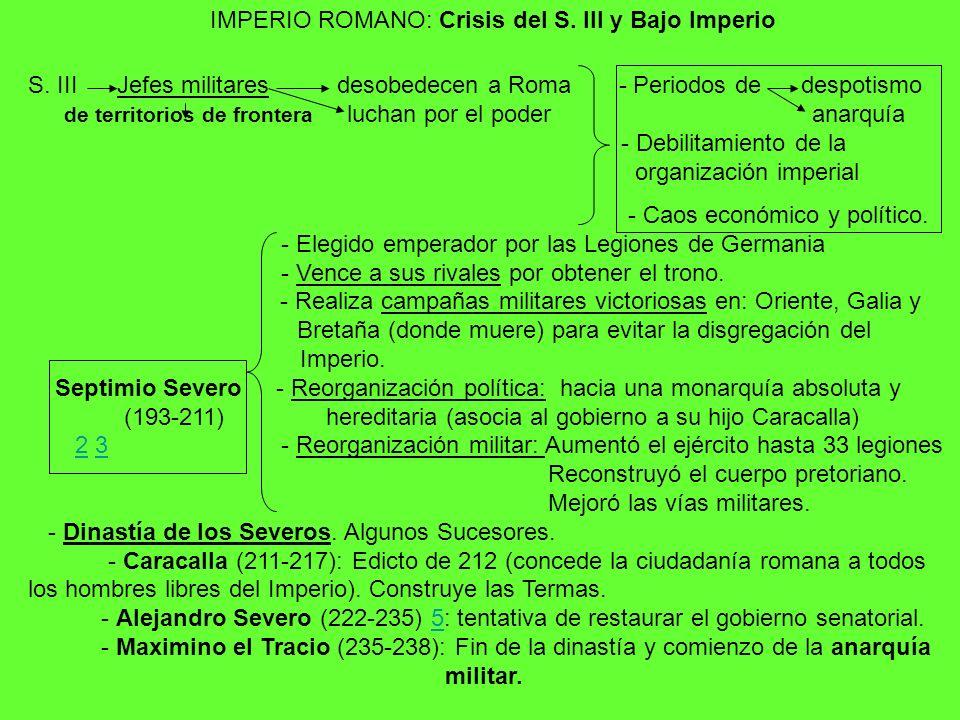 IMPERIO ROMANO: Crisis del S. III y Bajo Imperio S. III Jefes militares desobedecen a Roma - Periodos de despotismo de territorios de frontera luchan