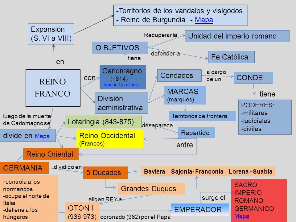 REINO FRANCO en Expansión (S. VI a VIII) -Territorios de los vándalos y visigodos - Reino de Burgundia - MapaMapa Carlomagno (+814) Imperio Carolingio