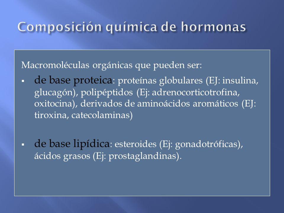 Macromoléculas orgánicas que pueden ser: de base proteica : proteínas globulares (EJ: insulina, glucagón), polipéptidos (Ej: adrenocorticotrofina, oxi
