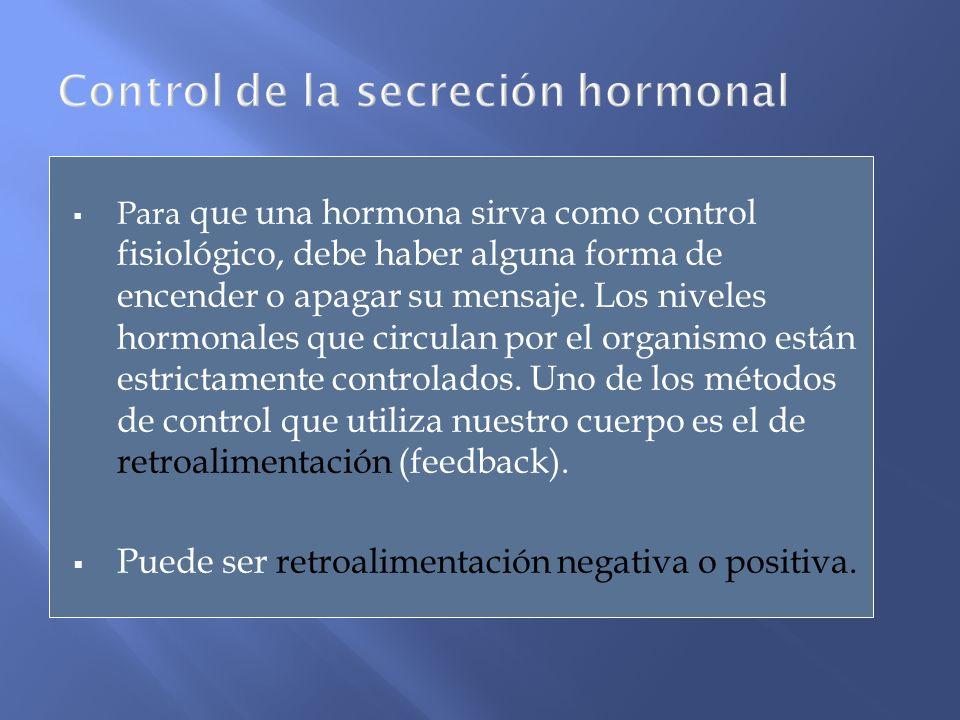 Para que una hormona sirva como control fisiológico, debe haber alguna forma de encender o apagar su mensaje. Los niveles hormonales que circulan por