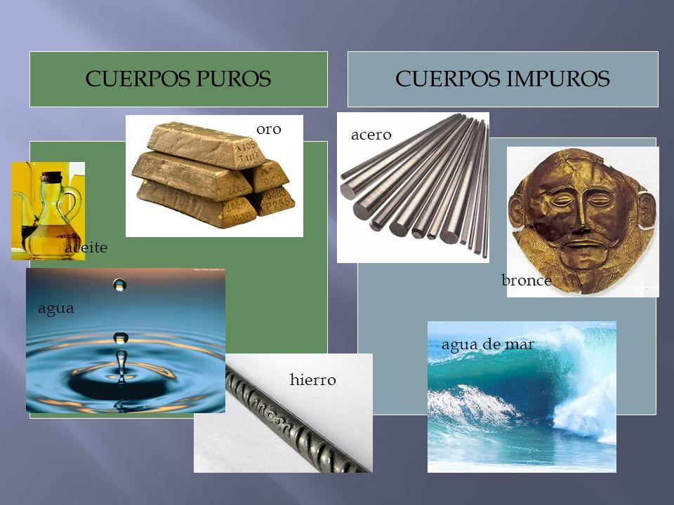 CUERPOS PUROSCUERPOS IMPUROS agua aceite bronce agua de mar hierro acero oro