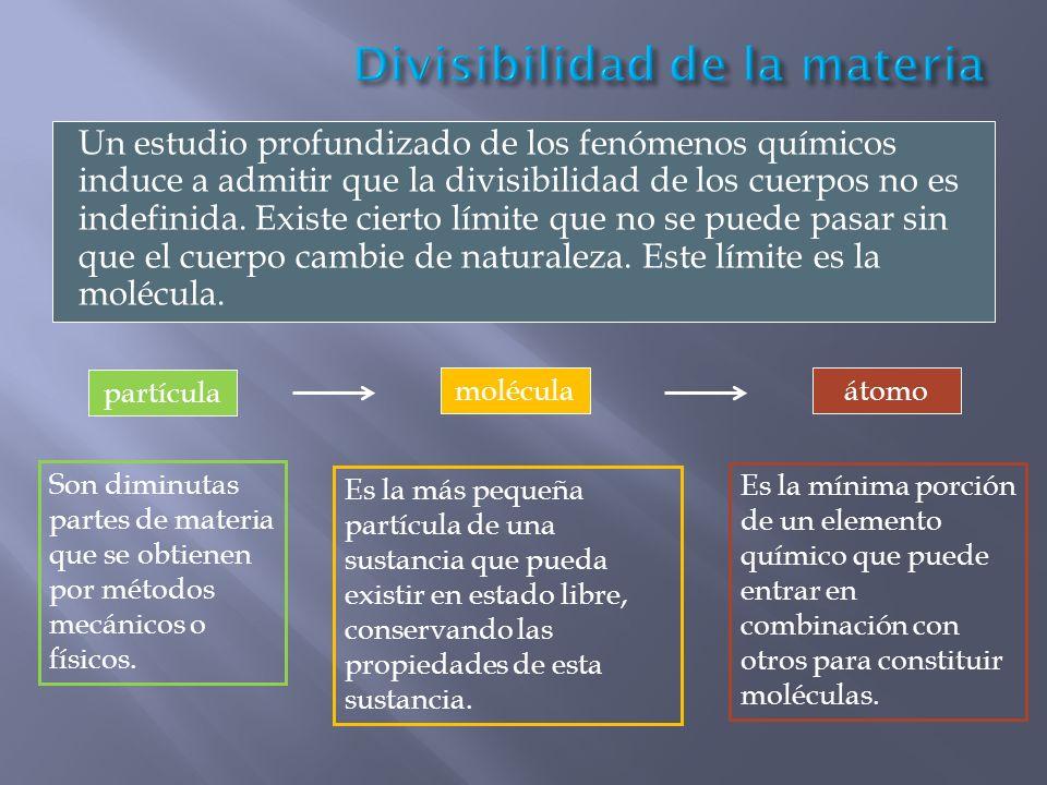 Un estudio profundizado de los fenómenos químicos induce a admitir que la divisibilidad de los cuerpos no es indefinida. Existe cierto límite que no s