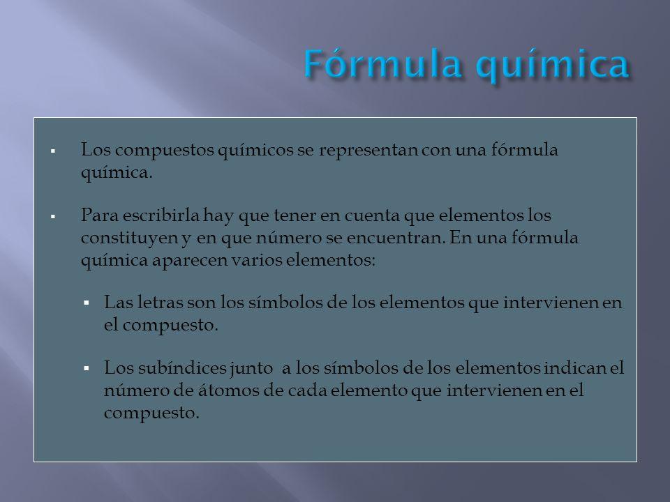 Los compuestos químicos se representan con una fórmula química. Para escribirla hay que tener en cuenta que elementos los constituyen y en que número