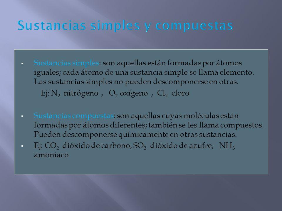 Sustancias simples: son aquellas están formadas por átomos iguales; cada átomo de una sustancia simple se llama elemento. Las sustancias simples no pu
