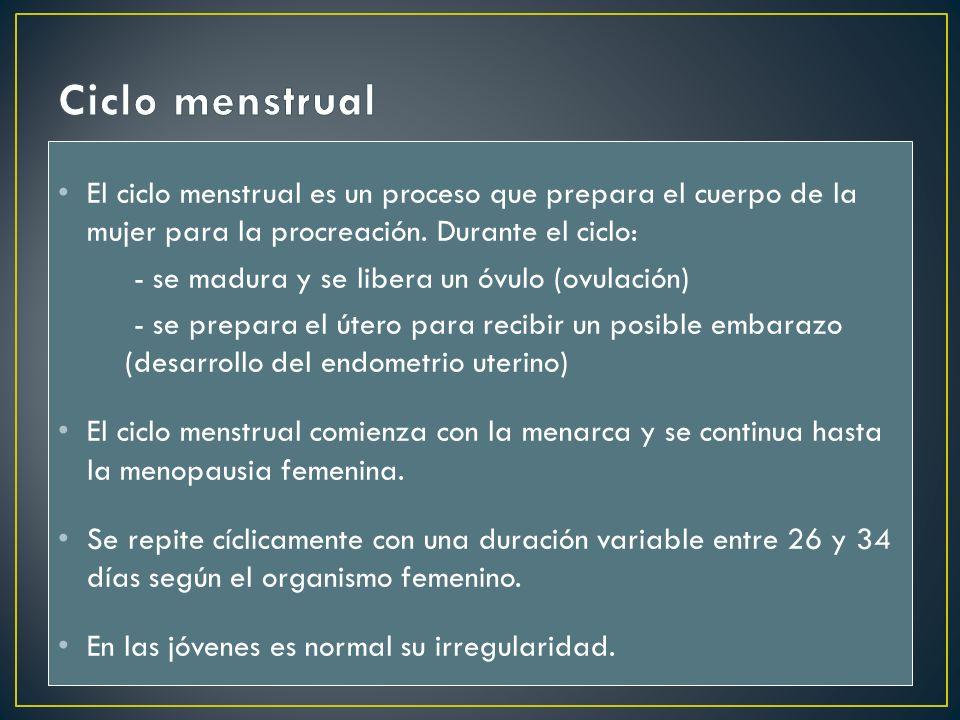 El ciclo menstrual es un proceso que prepara el cuerpo de la mujer para la procreación. Durante el ciclo: - se madura y se libera un óvulo (ovulación)
