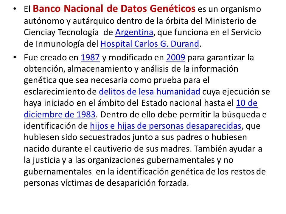 El Banco Nacional de Datos Genéticos es un organismo autónomo y autárquico dentro de la órbita del Ministerio de Cienciay Tecnología de Argentina, que