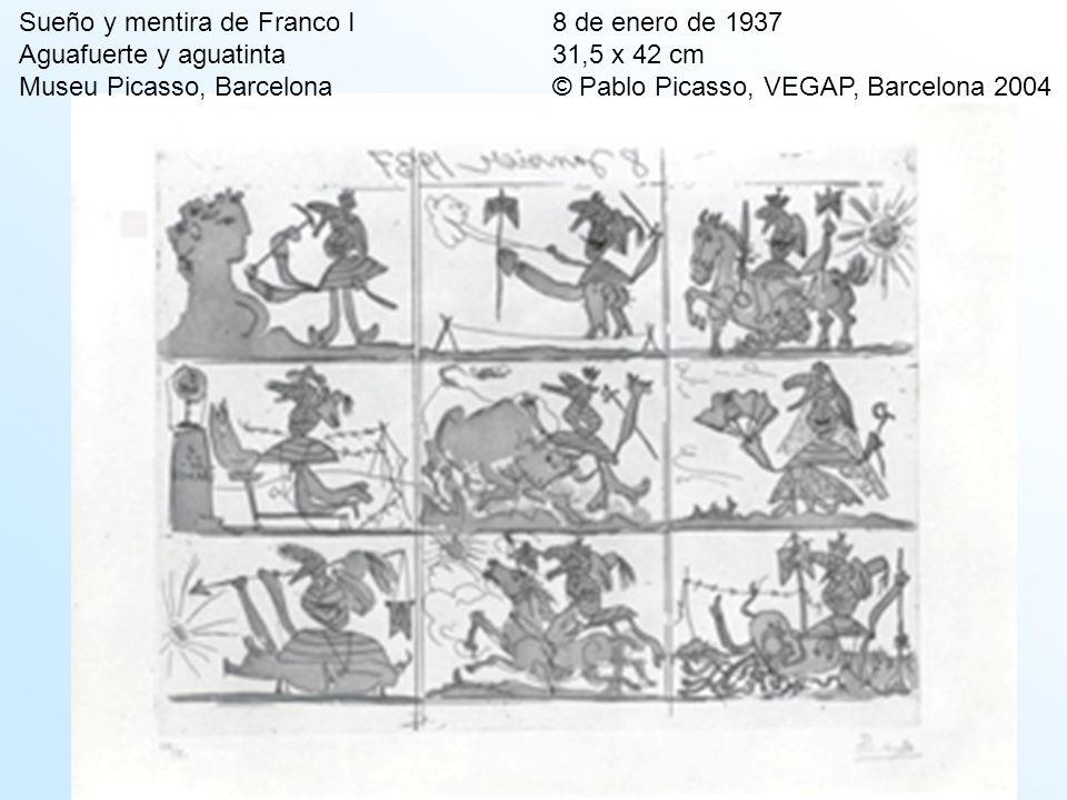 Sueño y mentira de Franco I 8 de enero de 1937 Aguafuerte y aguatinta 31,5 x 42 cm Museu Picasso, Barcelona © Pablo Picasso, VEGAP, Barcelona 2004