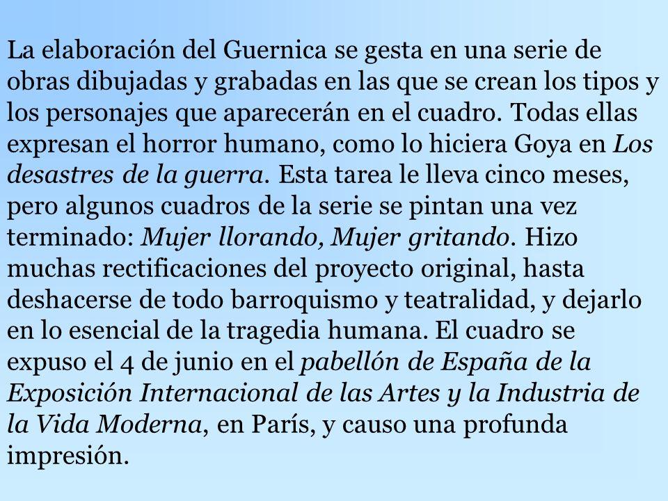 El motivo del Guernica es el bombardeo que el 26 de abril de 1937 la aviación alemana hace, en un día de mercado, sobre la población de Guernica, dejá
