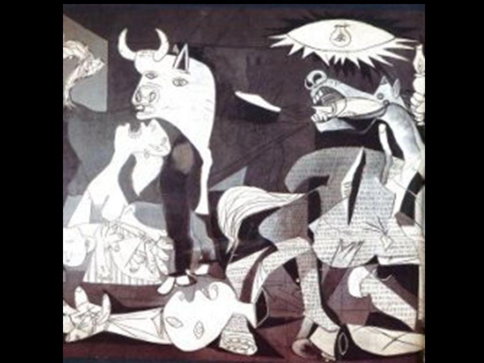 La elaboración del Guernica se gesta en una serie de obras dibujadas y grabadas en las que se crean los tipos y los personajes que aparecerán en el cu