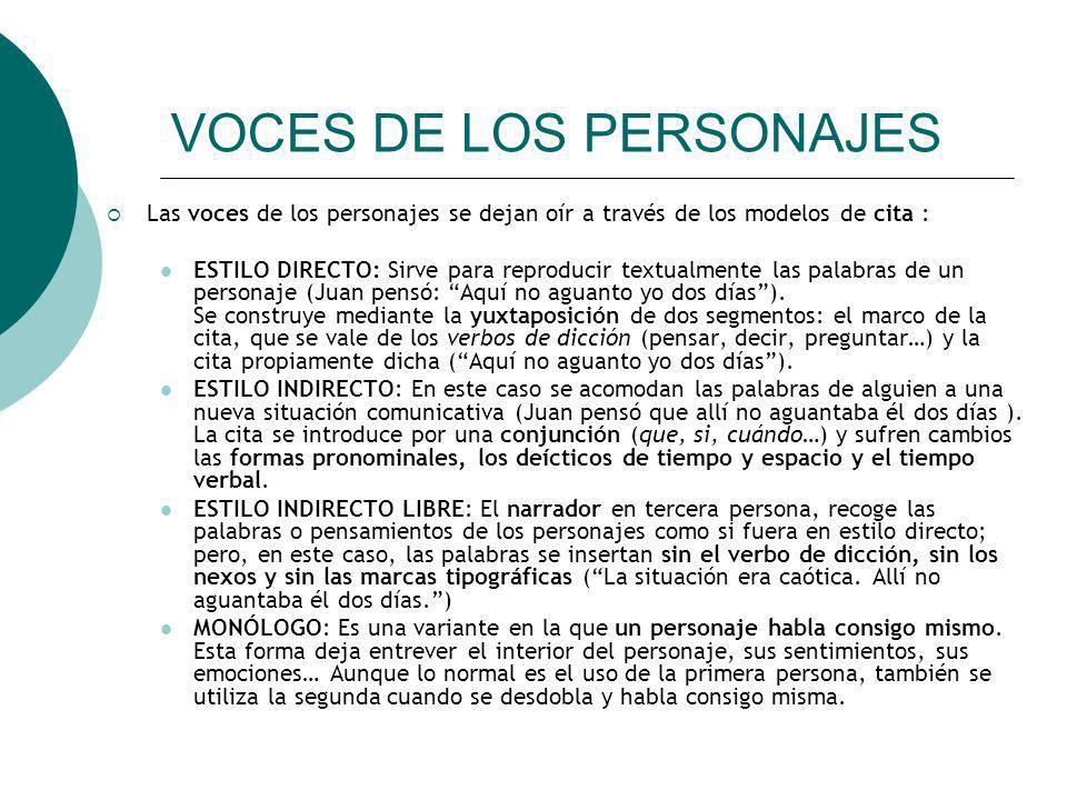 VOCES DE LOS PERSONAJES Las voces de los personajes se dejan oír a través de los modelos de cita : ESTILO DIRECTO: Sirve para reproducir textualmente