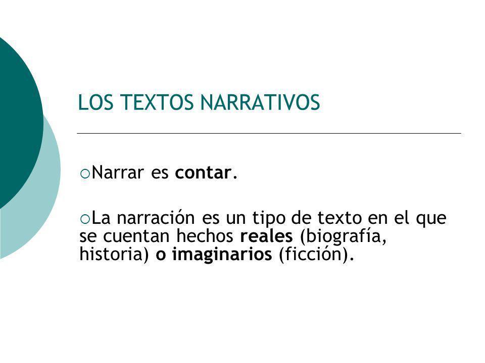 LOS TEXTOS NARRATIVOS Narrar es contar. La narración es un tipo de texto en el que se cuentan hechos reales (biografía, historia) o imaginarios (ficci