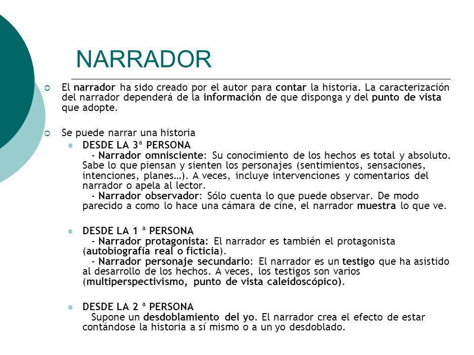 NARRADOR El narrador ha sido creado por el autor para contar la historia. La caracterización del narrador dependerá de la información de que disponga