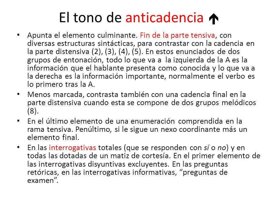 El tono de anticadencia Apunta el elemento culminante. Fin de la parte tensiva, con diversas estructuras sintácticas, para contrastar con la cadencia