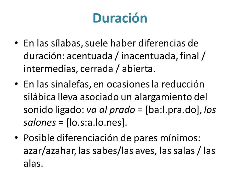 Duración En las sílabas, suele haber diferencias de duración: acentuada / inacentuada, final / intermedias, cerrada / abierta. En las sinalefas, en oc