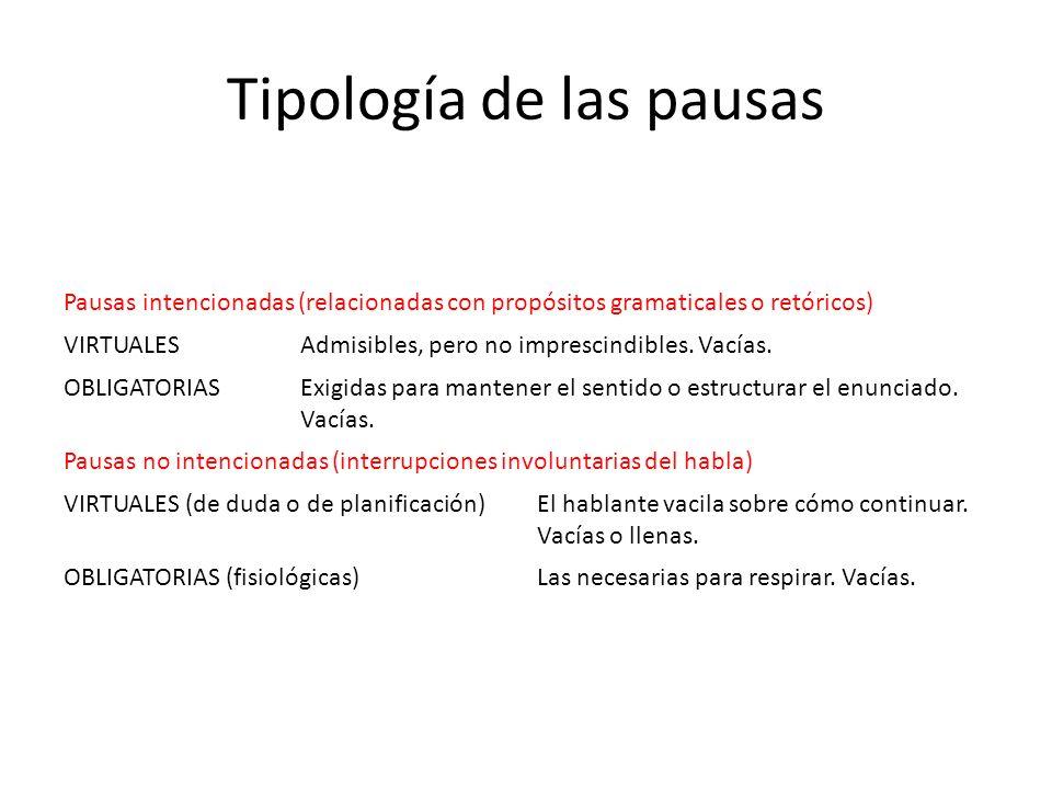 Tipología de las pausas Pausas intencionadas (relacionadas con propósitos gramaticales o retóricos) VIRTUALESAdmisibles, pero no imprescindibles. Vací