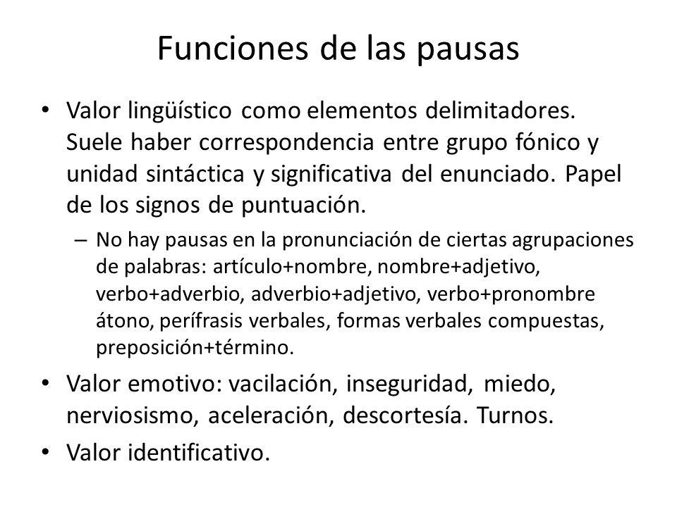 Funciones de las pausas Valor lingüístico como elementos delimitadores. Suele haber correspondencia entre grupo fónico y unidad sintáctica y significa