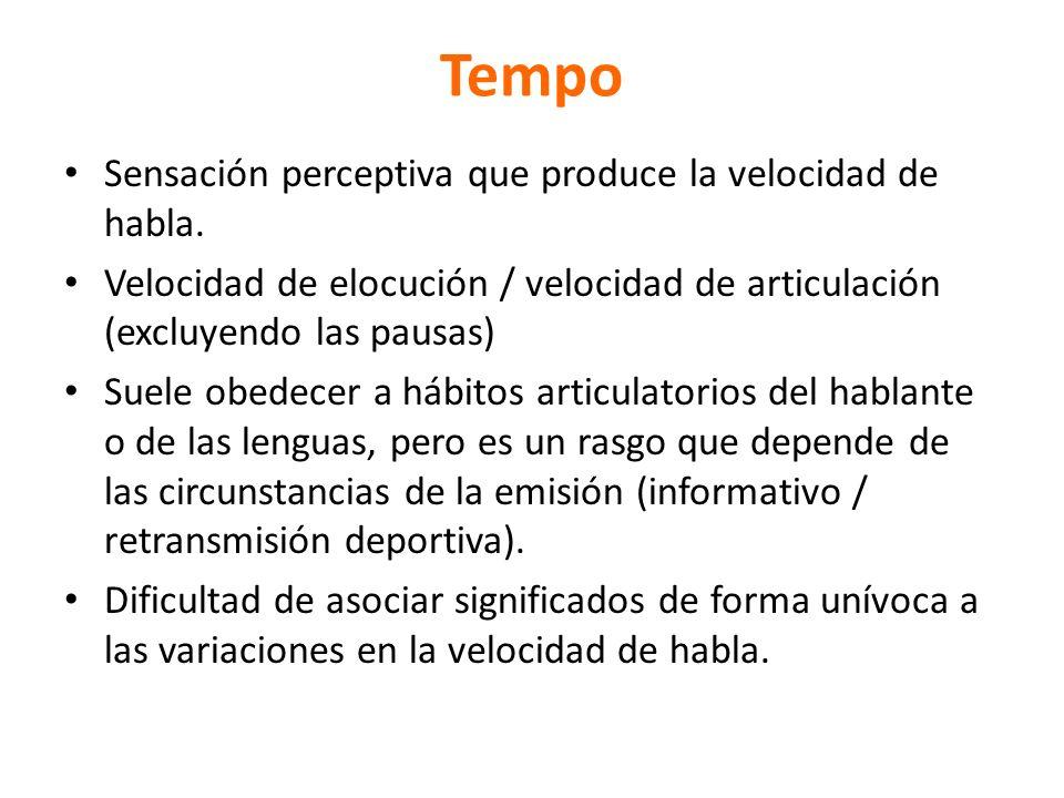 Tempo Sensación perceptiva que produce la velocidad de habla. Velocidad de elocución / velocidad de articulación (excluyendo las pausas) Suele obedece
