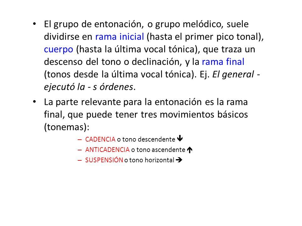 El grupo de entonación, o grupo melódico, suele dividirse en rama inicial (hasta el primer pico tonal), cuerpo (hasta la última vocal tónica), que tra