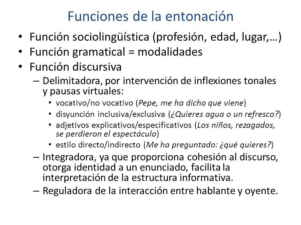 Funciones de la entonación Función sociolingüística (profesión, edad, lugar,…) Función gramatical = modalidades Función discursiva – Delimitadora, por