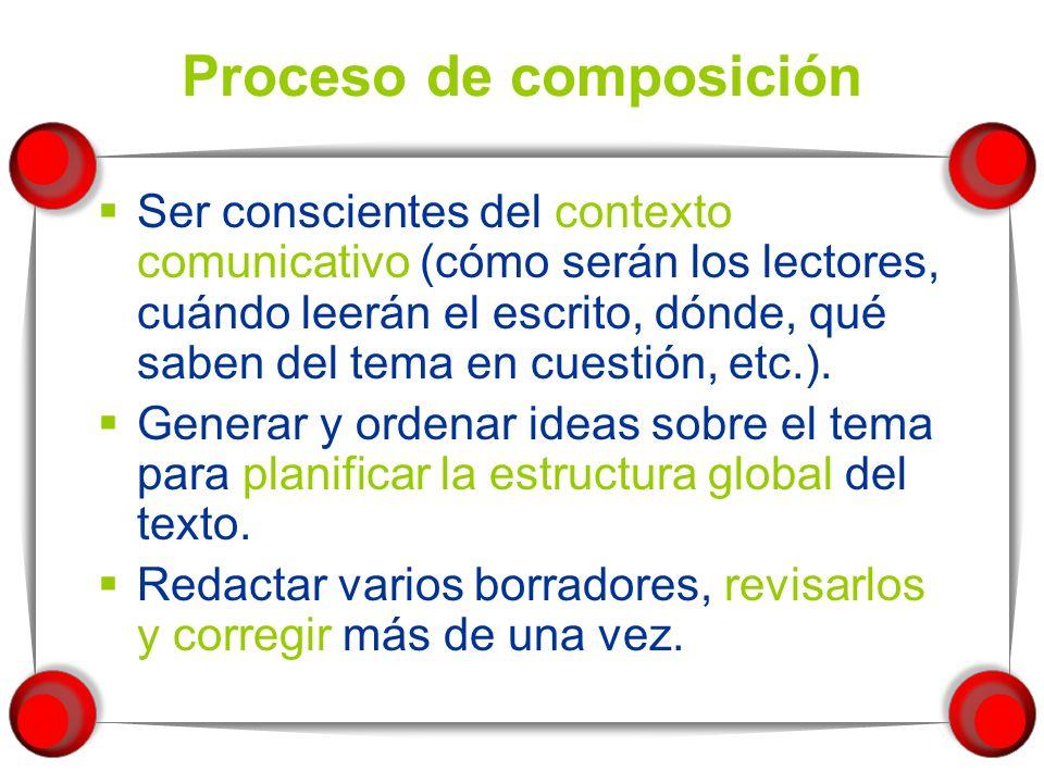 Tipos de escritores ABCD Adquisición del código++ Proceso de composición++