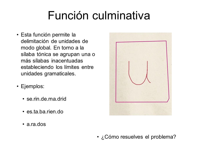 Función culminativa Esta función permite la delimitación de unidades de modo global. En torno a la sílaba tónica se agrupan una o más sílabas inacentu