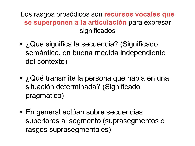 Los rasgos prosódicos son recursos vocales que se superponen a la articulación para expresar significados ¿Qué significa la secuencia? (Significado se