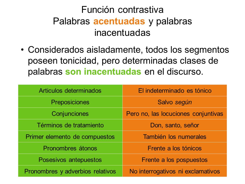 Función contrastiva Palabras acentuadas y palabras inacentuadas Considerados aisladamente, todos los segmentos poseen tonicidad, pero determinadas cla